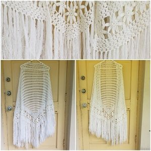 Vintage coachella inspired crochet shawl
